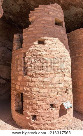 Manitou Springs CO/USA - September 9 2016: A defensive tower at the Manitou Cliff Dwellings in Manitou Springs Colorado.