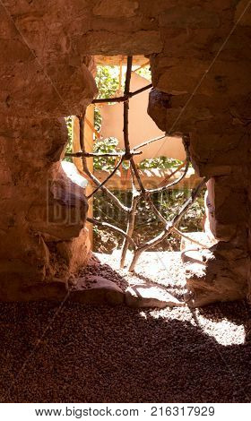 Manitou Springs CO/USA - September 9 2016: Light pours in through an opening in the wall at the Manitou Cliff Dwellings in Manitou Springs Colorado.