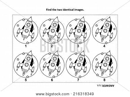 IQ training find the two identical pictures with rocket or spaceship visual puzzle and coloring page. Answer included.