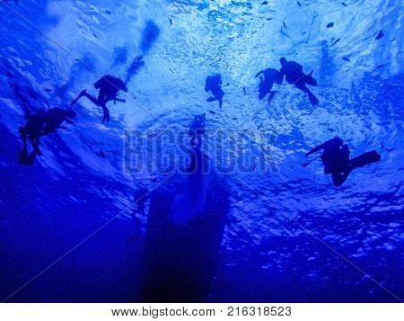 SCUBA divers wait below the surface of the ocean in a 3 minute safety stop.  Boat silhouette sits in background.