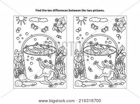 Summer joy themed find the ten differences picture puzzle and coloring page with happy playful frogs swimming in a bucket full of water.