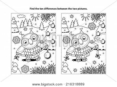 Winter holidays, New Year or Christmas themed find the ten differences picture puzzle and coloring page with owl holding glass beads garland for trimming the fir tree.