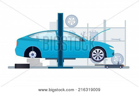 Car repair and service. Mechanic repair, diagnostics car, equipment in auto service. Work in auto repair service, work process equipment. Replacement of tires, wheels, car parts. Vector illustration.