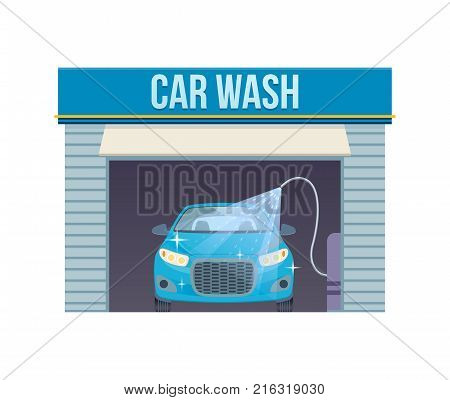 Car wash concept. Car washing service center full and self service facilities. Logo car. Assistance in maintenance, cleaning, renovation, service building on streets of city. Vector illustration. poster