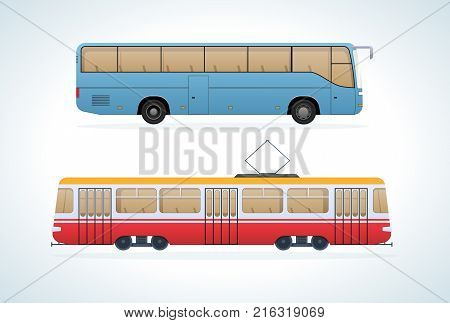 Passenger public modern urban transport: municipal tramand intercity bus. Transportation of passengers. Side view city transport. Vector illustration isolated.