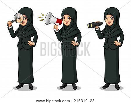 Set of businesswoman in black suit with veil cartoon character design, looking through binoculars, holding magnifying glass, and talking yelling shouting announcement with megaphone, isolated against white background.