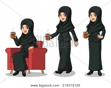 Set of businesswoman in black suit with veil cartoon character design making a break relaxing with holding drinking a coffee tea, isolated against white background.