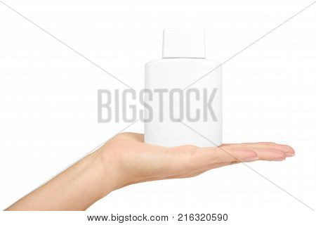 Template of a bottle for aftershave lotion for men in hand isolated on white background. Healthcare concept.