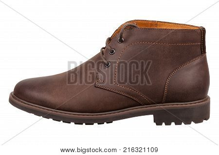 New men's leather boot close-up isolated on white background. Brown desert boot
