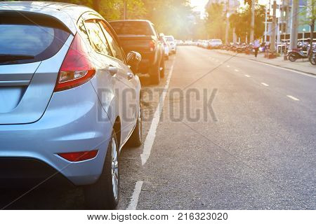 Car parked on street ,Car parked on road
