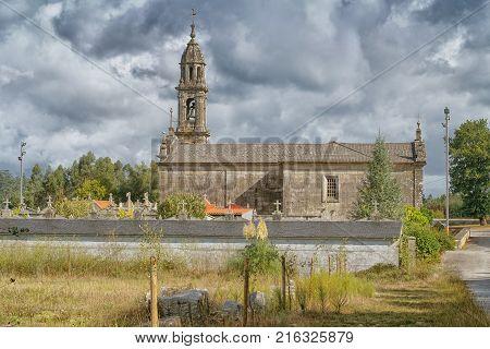 Chapel San Mamede da Portela in Barro, a small village on the Camino de Santiago trail close to Pontevedra, Galicia, Spain