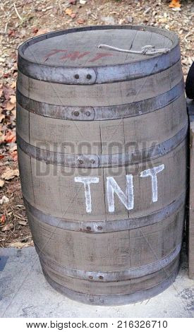 old rustic barrel with steel rings outside