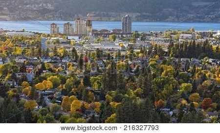 Kelowna Skyline with Okanagan Lake in the Background with fall colours Kelowna British Columbia Canada
