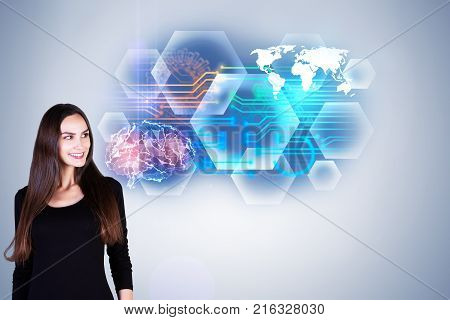 Portrait of smiling young european woman standing on grey background with abstract brain interface. Intellect and future concept. 3D Rendering