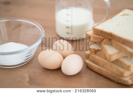 All Ingredients For French Toast Preparation Eggs Milk Bread And Sugar