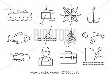 Fishing line icons set on white background