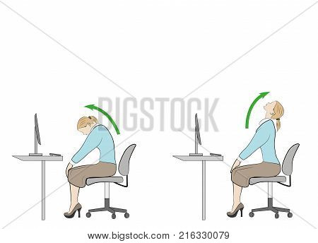 exercises for the neck and head. computer syndrome. vector illustration