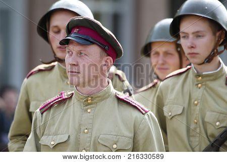 Belarus Gomel September 09 2017. Celebrating the city day.Belarus Gomel September 09 2017.soldier of the Second World War