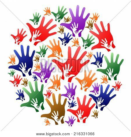isolated colorful caring hands circle on white background