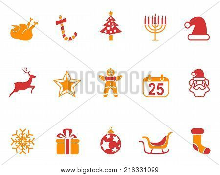 isolated orange and red color Christmas icons set from white background
