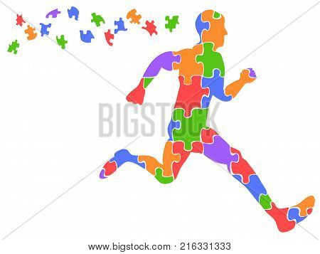 isolated color runner jigsaw puzzles from white background
