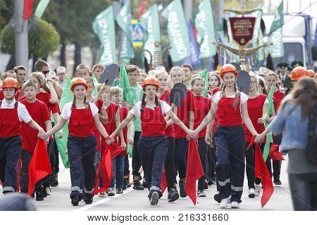 Belarus Gomel September 09 2017. Celebrating the city day.Belarus Gomel September 09 2017.Soviet youth