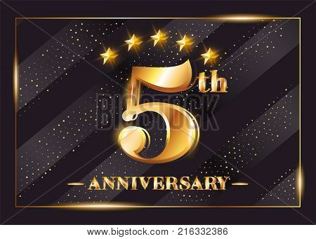 5 Years Anniversary Celebration Vector Logo. 5th Anniversary Gold Icon with Stars and Frame. Luxury Shiny Design for Greeting Card, Invitation, Congratulation Card. Isolated on Black Background.