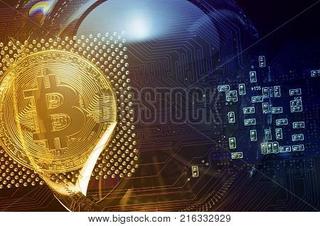 Bitcoin. Bitcoin in a soap bubble on the video card.