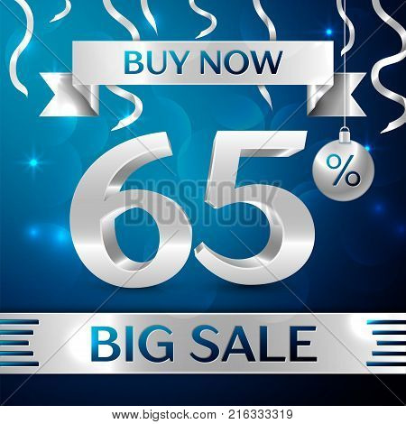 Realistic banner Merry Christmas with text Gold Big Sale buy now sixty five percent for discount on blue background. Confetti, christmas ball and gold ribbon. Vector Illustration