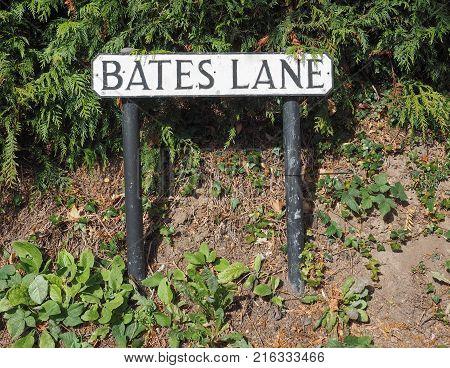 Bates Lane sign in Tanworth In Arden UK