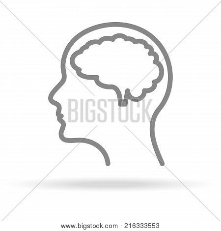 Human Brain, Neurology Icon In Trendy Thin Line Style Isolated On White Background. Medical Symbol For Your Design, Apps, Logo, UI. Vector Illustration, Eps10.
