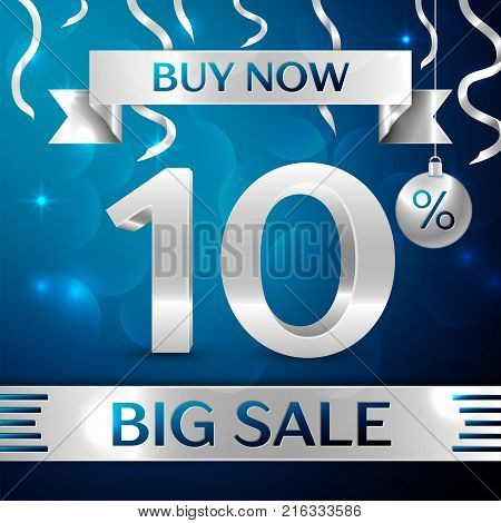 Realistic banner Merry Christmas with text Gold Big Sale buy now ten percent for discount on blue background. Confetti, christmas ball and gold ribbon. Vector Illustration