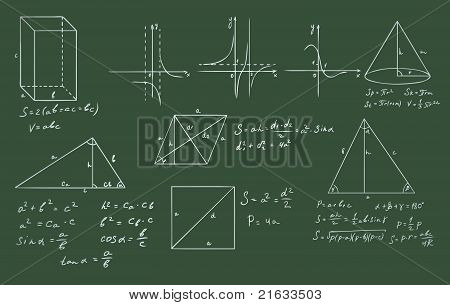 mathematics and geometry on green blackboard vector set