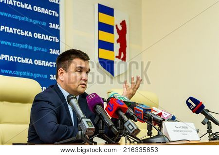 Uzhgorod Ukraine - December 1 2017: Minister of Foreign Affairs of Ukraine Pavel Klimkin answers questions from journalists during a press conference as part of a working visit to Transcarpathia.