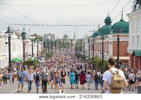Omsk Russia - August 5 2017: Lenin Street in the city of Omsk on the day of celebration of the 301th anniversary of the city