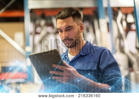 car service, repair, maintenance and people concept - auto mechanic man or smith with tablet pc computer at workshop or warehouse