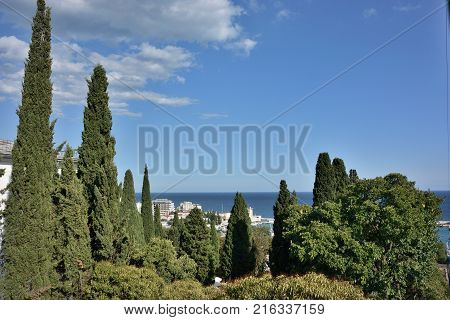 View of the city of Yalta from the cable car cabin