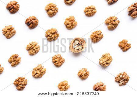 Walnut kernel pattern backdrop. One open nut shell with kernel on white background.