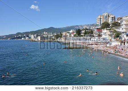 YALTA CRIMEA SEPTEMBER 6 2017: Massandra beach of Yalta