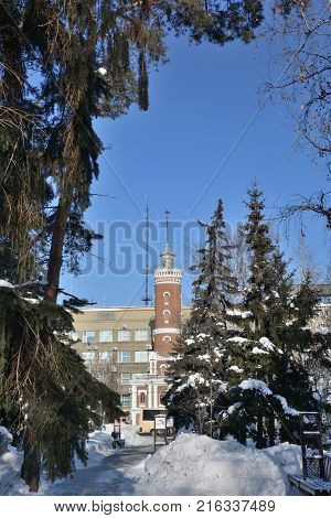 OMSK RUSSIA - JANUARY 31 2017: View of the Fire Tower of the park named after Pavlik Morozov Omsk Siberian region Russia