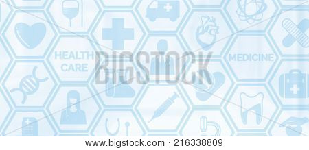 Medical background - Healthcare logo doctor icon and medical symbol on blue background displaying healthcare person medical treatment emergency service health research and medical insurance.