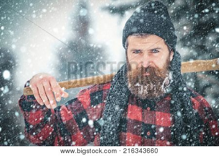 New Year Man In Snowy Cold Forest.