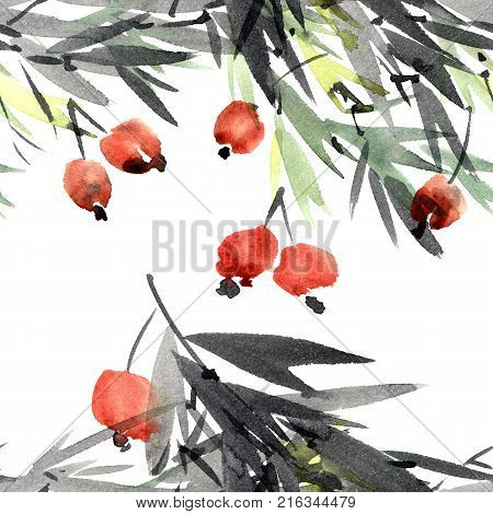 Watercolor and ink illustration of tree with leaves and berries. Sumi-e u-sin painting. Seamless pattern.