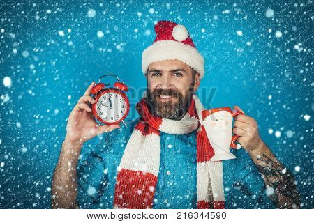 new year christmas snow concept Christmas man hold alarm clock and cup. Hipster in santa hat scarf smile on blue background. New year xmas holidays celebration. Countdown to midnight. Time