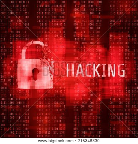 Hacking. Hacker cyber attack. Hacked program on matrix code background. Vector illustration