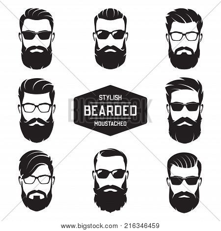 Set of vector various bearded men faces with different haircuts, mustaches, beards. Silhouettes, avatars, heads, emblems, icons labels
