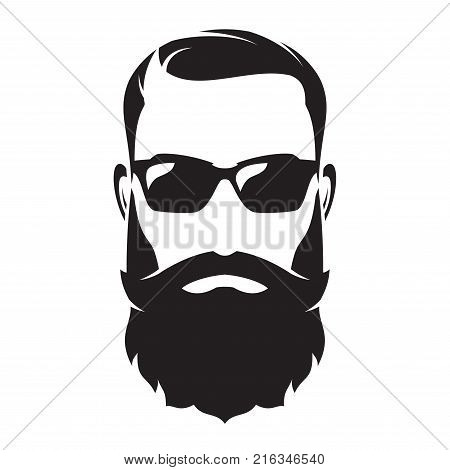 Bearded man s face, hipster character. Fashion silhouette, avatar, emblem, icon label Vector illustration