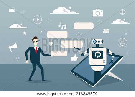 Man Chatting With Chat Bot From Digital Tablet Or Cell Smart Phone Digital Support Technology Vector Illustration