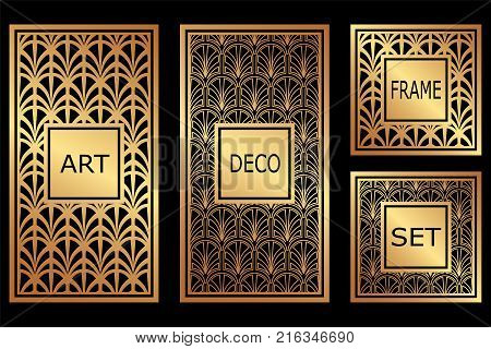 Vintage Retro Frames Set In Art Deco Style. Template For Design. Vector Illustration