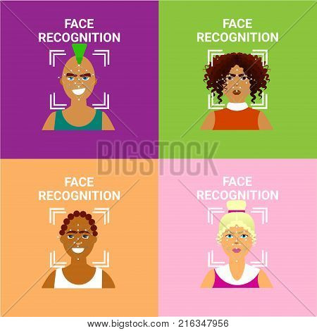 Set Of Face Recognition Icons, Biometric Scanning Of Male And Female Users Modern Identification Technology Vector Illustration